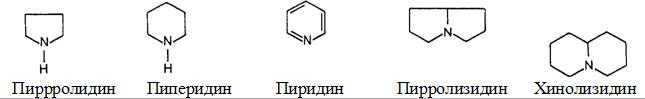 пиперидин, пиридин, пирролизидин, хинолизидин