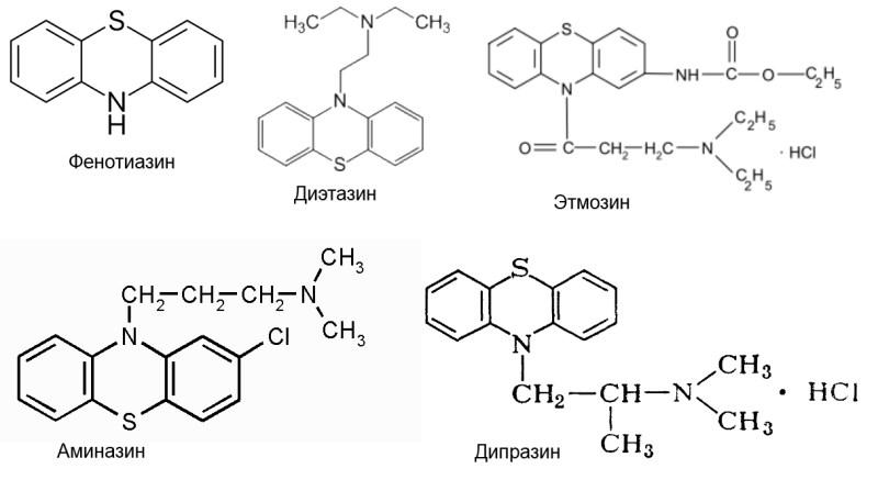 Производные фенотиазина, фенотиазин. диэтазин, этмозин, аминазин, дипразин