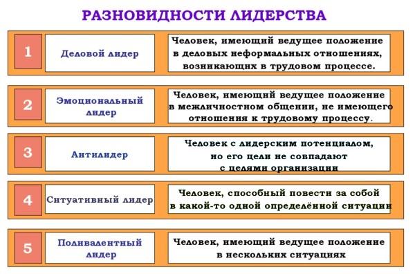 разновидности лидерства