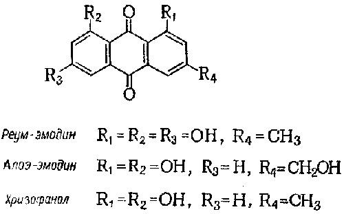 реум-эмодин, алоэ-эмодин, хризофанол