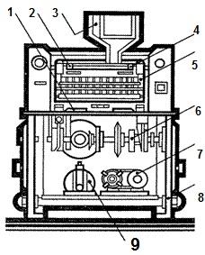Схема автомата для набора ампул в кассеты