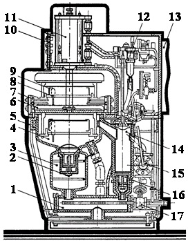 Схема аппарата для пароконденсационной мойки ампулы АП25М