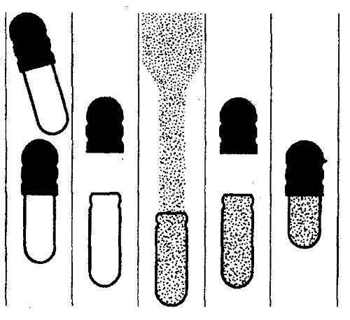 Стадии процесса наполнения твёрдых желатиновых капсул