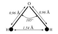 Расстояние между ядрами и угол связи в молекуле жидкой воды