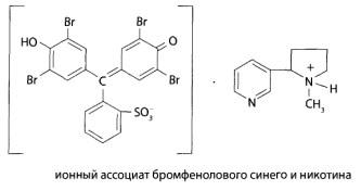 Образующийся в реакции комплекс никотина (анабазина) с бромфеноловым синим можно представить следующей формулой