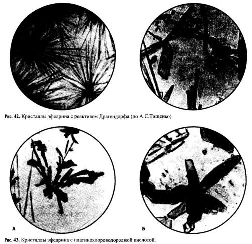 микрокристаллоскопическая реакция эфедрина с реактивом Драгендорфа специфична